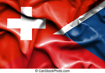 Waving flag of Czech Republic and Switzerland