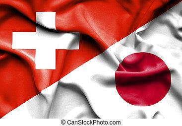 waving, bandeira, de, Japão, e, Suíça,