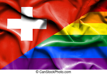 Waving flag of Pride and Switzerland
