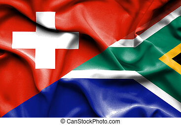 Waving flag of South Africa and Switzerland
