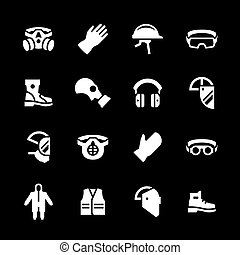 Set icons of personal protective equipment isolated on black