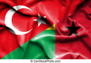 Waving flag of Guinea Bissau and Turkey - Waving flag of...