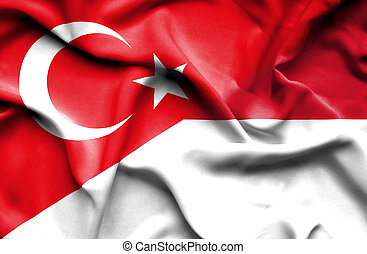 Waving flag of Indonesia and Turkey