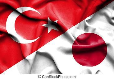 waving, bandeira, de, Japão, e, peru,