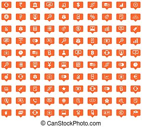 Finance orange message icons set