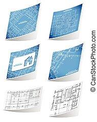 Architecture background sticker set