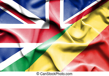 Waving flag of Congo Republic and Great Britain - Waving...