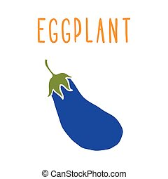 Eggplant isolated on white. Vector hand drawn illustration