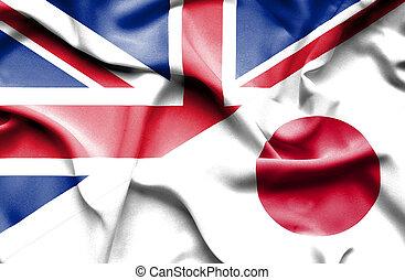 waving, bandeira, de, Japão, e, grande, Inglaterra,