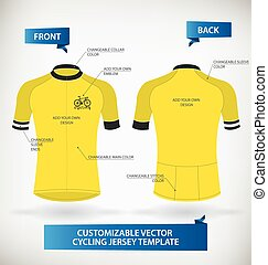 Cycling Jersey - Customizable Vector Cycling Jersey Template