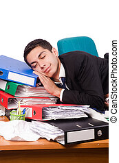 Busy businessman under work stress
