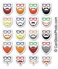Beard and glasses, hipster icons se - Different styles on...