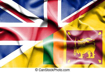 Waving flag of Sri Lanka and Great Britain - Waving flag of...
