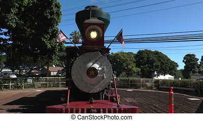 Vintage steam locomotive at maui, hawaii