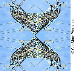 symmetrical high voltage pylons view from above