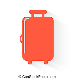Luggage symbol in orange withdrop shadow on white