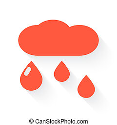 Rain symbol in orange withdrop shadow on white