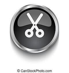 White Scissors symbol on black web button