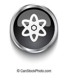 White Nuclear symbol on black web button