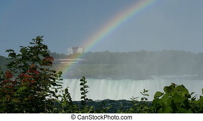 rainbow above niagara falls in niagara, canada