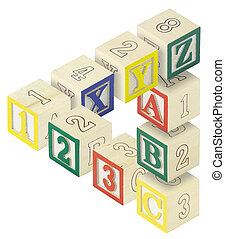 123 ABC Alphabet Blocks Optical Illusion - A penrose...