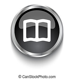 White Open Book symbol on black glossy web button