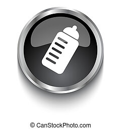 White Sport Drink symbol on black glossy web button