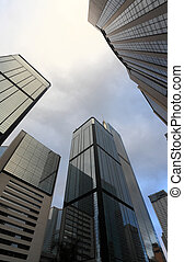 High, business, buildings