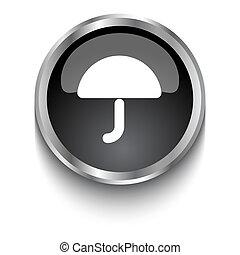 White Umbrella symbol on black web button