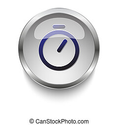 Timer dark blue vector icon on a glossy glass button with chrome on white background