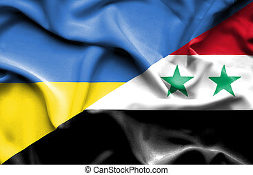 Waving flag of Syria and Ukraine