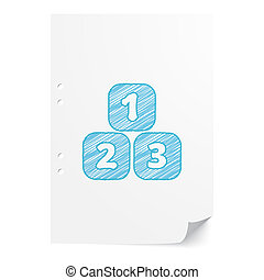Blue handdrawn 123 Blocks illustration on white paper sheet with copy space