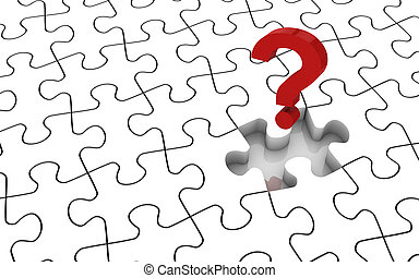 Jigsaw Puzzle Missing Piece - White jigsaw puzzle with...