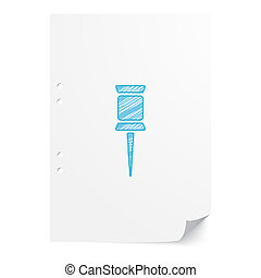 Blue handdrawn Pushpin illustration on white paper sheet with copy space