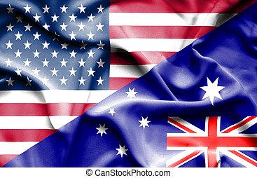 Waving flag of Australia and USA