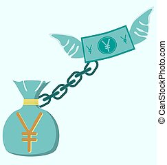 Illustration of gold yen coin with wings bag of money