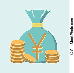 Illustration of gold yen coin with bag of money