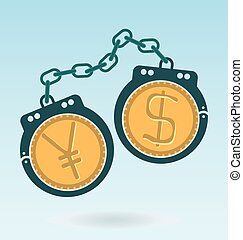 handcuffs with Dollar and Yen Yuan symbols