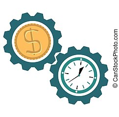 Gear clock time, dollar coin,Time is money