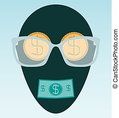 Glasses and gold dollar coin