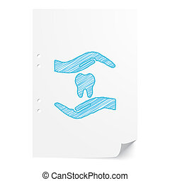 Blue handdrawn Dental Care illustration on white paper sheet with copy space