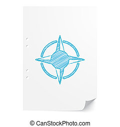Blue handdrawn Compass Rose illustration on white paper sheet with copy space