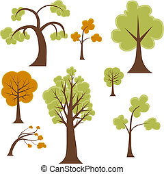 Tree Set - Cartoon tree set isolated on a white background.