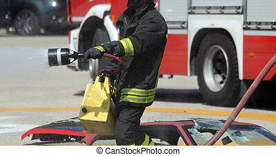 firefighters with the fire extinguisher during a practice...