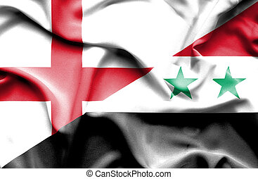 Waving flag of Syria and England