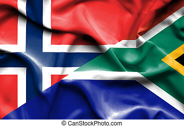 Waving flag of South Africa and Norway