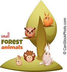 Vector set of small forest cute animals