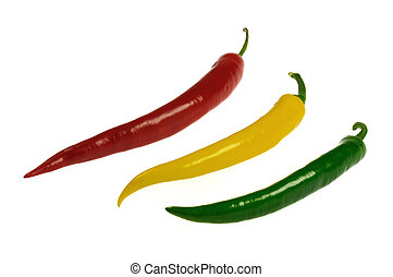 chilis - red, yellow and green chili on white background