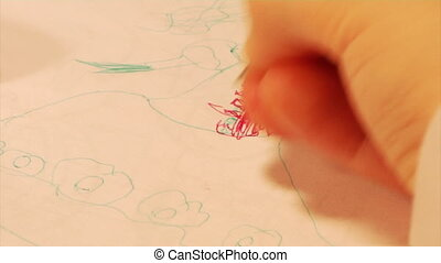 drawing child part 2 - close-up little girl drawing a...