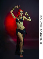 Bellydancer - Beautiful Woman in Sexy Clothing with Eastern Make